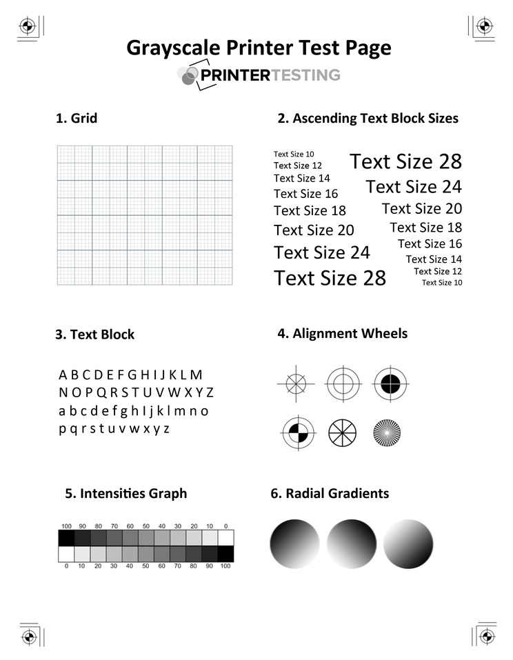 Black and White Printer test page